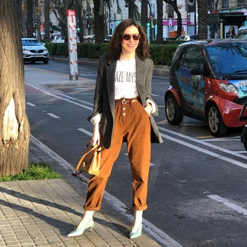 PAPER BAG PANTS Y BLAZER, LOOK 80s